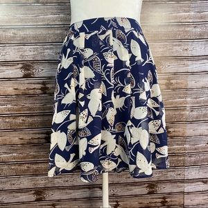 Old Navy- Blue Pleated Bird Print Mini Skirt